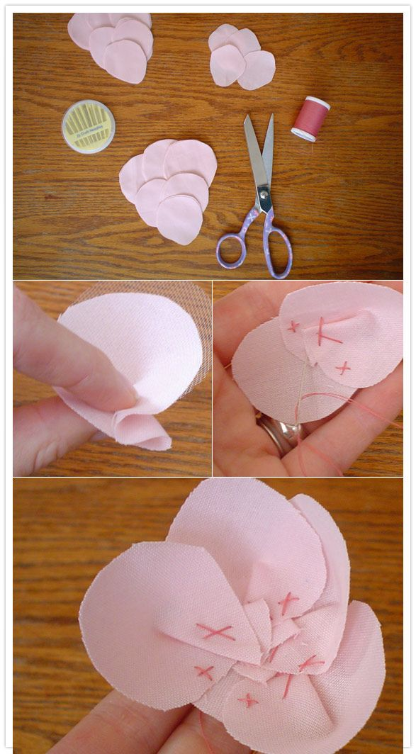 DIY fabric flowers by Michonne   (piece & sew together using small fabric shaped petals)