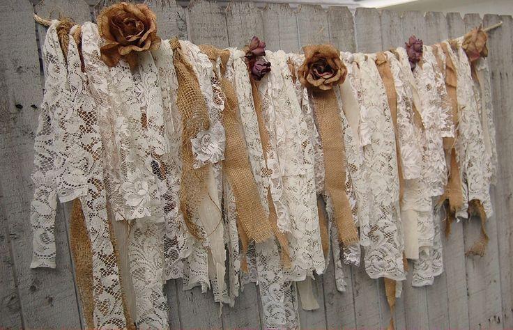 Boho lace & burlap garland