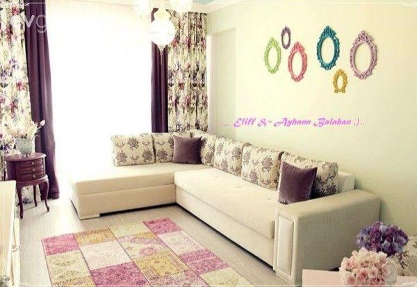Ayna, Bej, Duvar dekorasyon, Mor, Oturma Odası