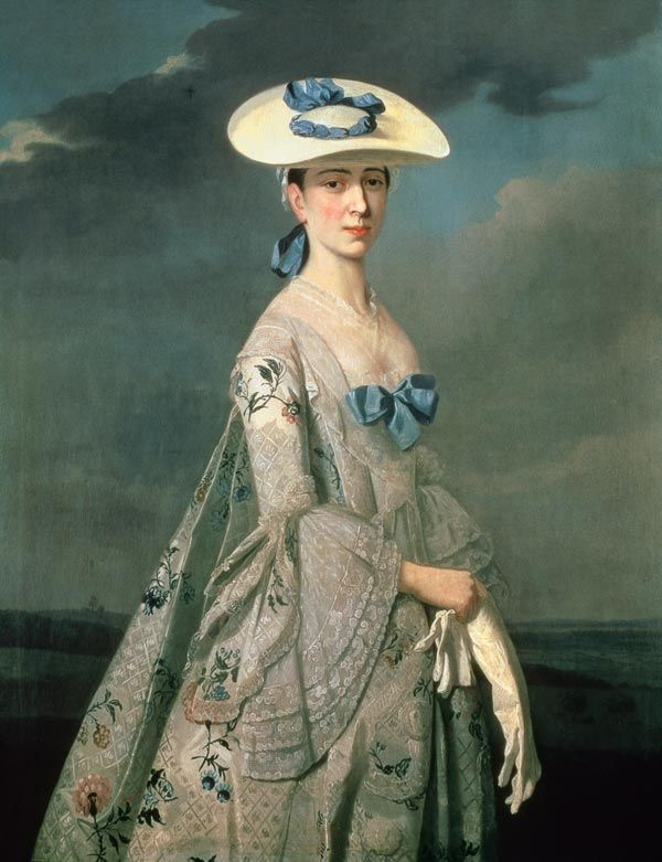 Pickering painting 1753, large print, square neckline, stomacher, bertha, revers, panners, flared sleeves, engageantes: Frances Dixie, City Museums, Eleanor Frances, Nottingham City, Henry Pickering, 18Th Century, Painting, Has