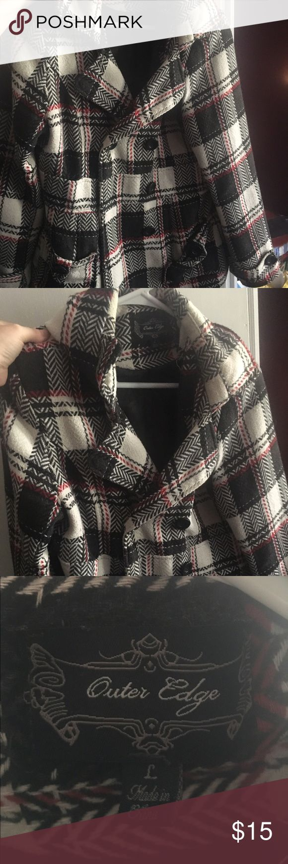 Red white and black pea coat Size L; had for 3 years; has some tearing but can be easily sewn; buttons; has a hood for the rain and sun; accepting offers. Jackets & Coats Pea Coats