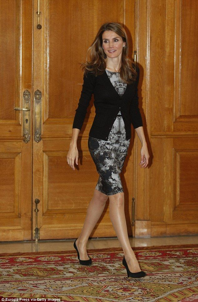 Its first outing! Queen Letizia first fell in love with the distinctive frock in October 2013