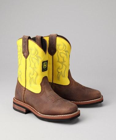 Little Kid Brown Square-Toe Wellington Cowboy Boots from John Deere Kids