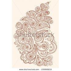 Хна Пейсли цветы мехенди татуировки рисованной дизайн вектор изображения иллюстрации