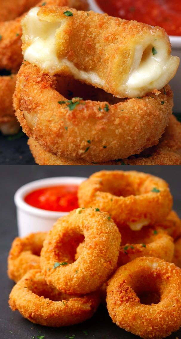 Ingredients: 2 large white onions 3–4 slices mozzarella cheese 2 cups flour 5 eggs 2 cups bread crumbs Oil, for frying Directions:  Peel and cut onions into 1-centimeter rings, then separate the rings. Slice the mozzarella into 4 even strips, and place a smaller onion ring in the center of a larger one. Fill …