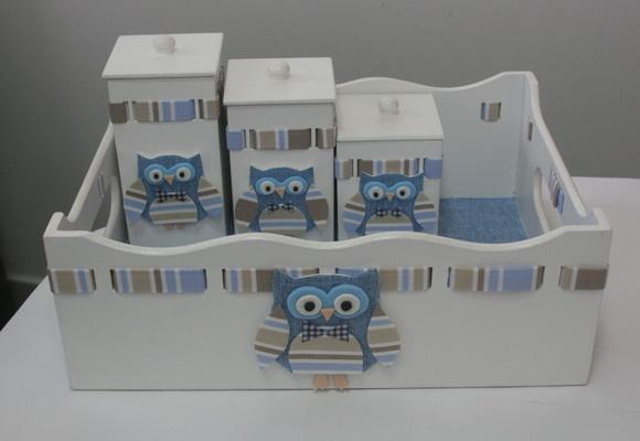 Kit higiene para quarto de meninao Tema coruja! Pode ser feito no tema que você escolher e na cor que desejar!