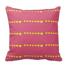 Pink and yellow hearts pillow