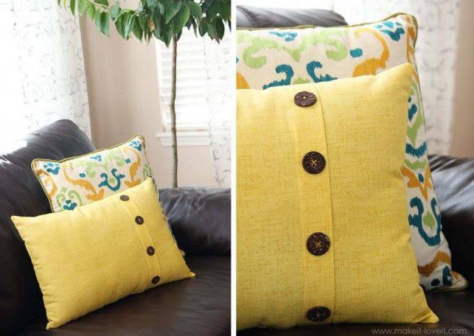 Throw Pillow Pattern With Buttons: 169 best DIY Decorative Pillows images on Pinterest   Decorative    ,