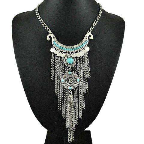 Joyería collar largo Bohemia de plata antigua color turquesa