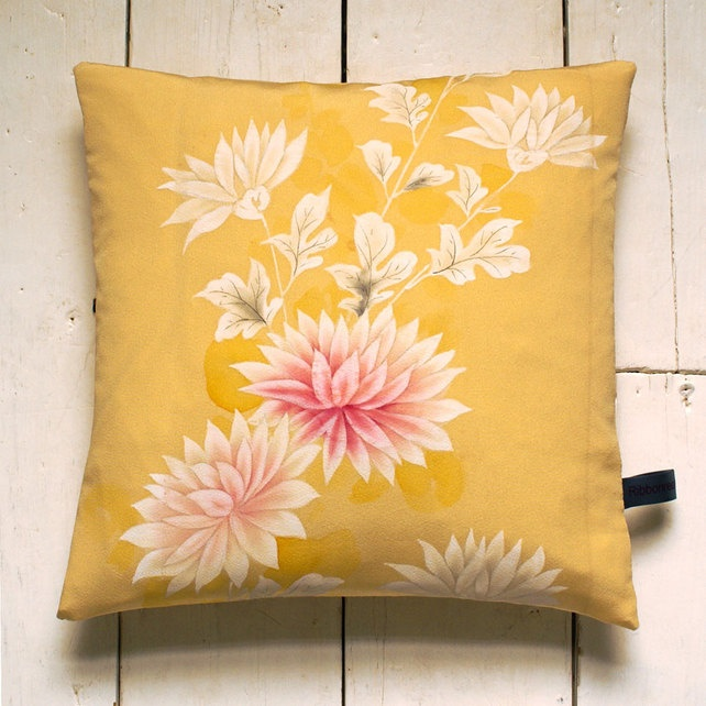 Straw Yellow & pink hand-painted Vintage Kimono Fabric Cushion 'Chrysanthemums' £24.99