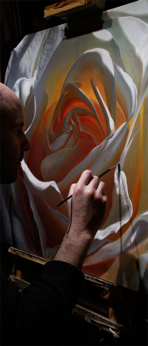 Irish Artist Vincent Keeling working on a large painting of a white rose; Part of his creation series. www.vincentkeeling.com