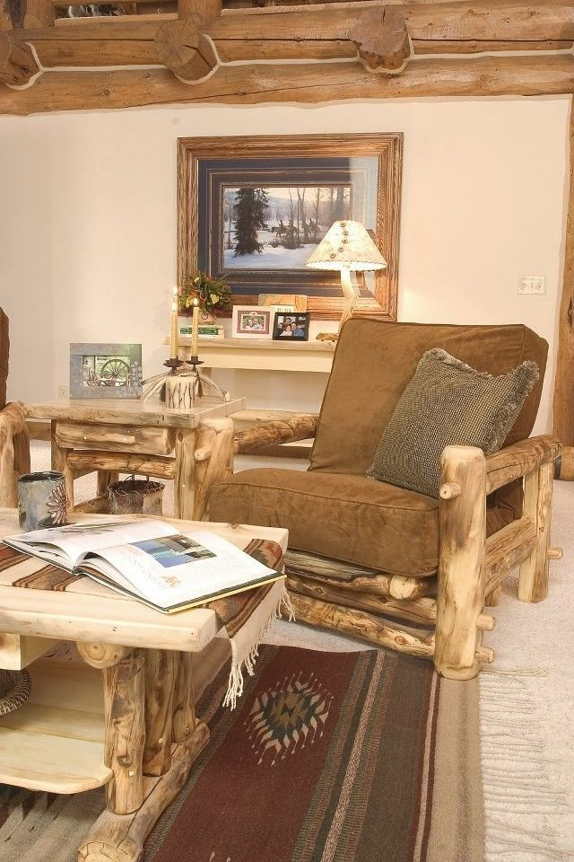 Rustic Easy Chair - Country Western Cabin Wood Living Room Furniture Decor #Country