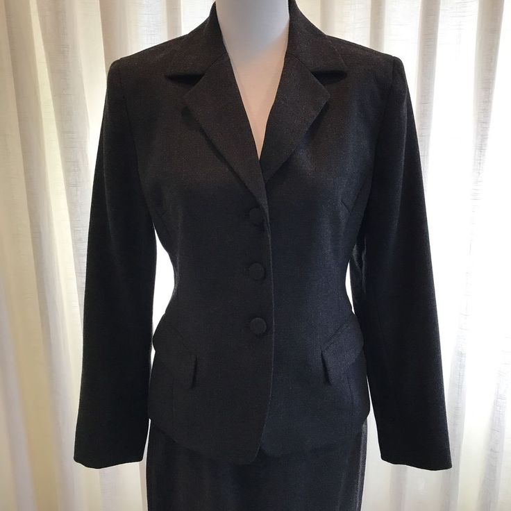 Jones New York Petite Suit Jacket Skirt 100% Wool 6P Dark Gray Two Piece #JonesNewYork #SkirtSuit