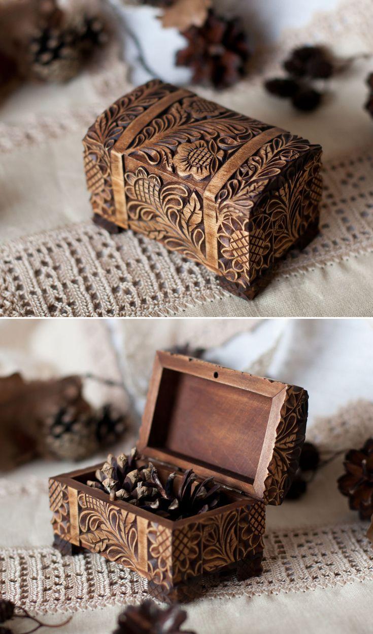 "Carved Wooden Box   Резная деревянная шкатулка ""Горький шоколад"" — работа дня на Ярмарке Мастеров"