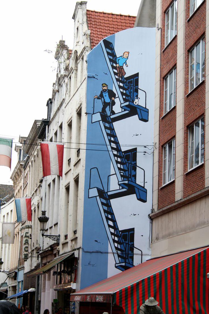 Bruselas, con Tintin y el Capitán Haddock