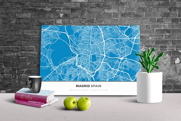 Gallery Wrapped Map Canvas of Madrid Spain - Simple Blue Contrast - Madrid Map Art