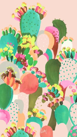 cactus print : watercolour by Helen Dealtry (colour, illustration, painting)