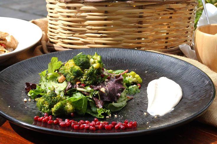 Mesclun salad with grilled broccoli, pomegranate, cashews and yogurt sauce with tahini Paparouna Wine Restaurant & Cocktail Bar | Good Month!!!