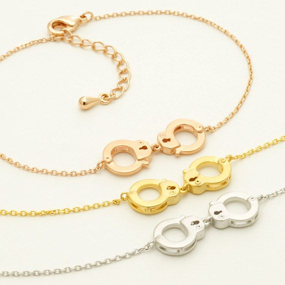 Partners in Crime Handcuffs Bracelet / handcuffs charm bracelet, love bracelet, friendship bracelet, BFF jewelry / B003