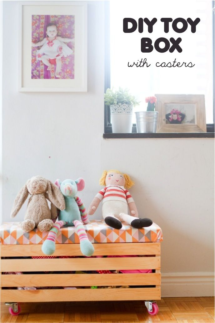 Rock it yourself} DIY toy box with casters Love it. Want to do this ...
