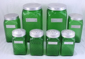 DEPRESSION GLASS DARK GREEN RIBBED HOOSIER PANTRY JARS CANISTER SET