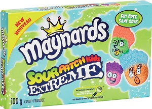 Maynards Sour patch Kids Extreme candies. :)   Maynard's Sour Patch Kids Extreme. 100g box    This soft and chewy candy comes with two supersour flavours in the same box!  According to the manufacturer's information, this item is gluten free and peanut free!    Ingredients: Sugar, glucose syrup, modified corn starch, citric acid, fumaric acid, lactic acid, tartaric acid, natural and artificial flavours, colour (with Tartrazine).
