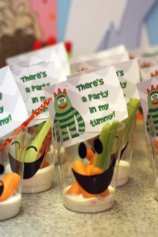 Yo Gabba Gabba Party ~ Vegetable Dip Cups