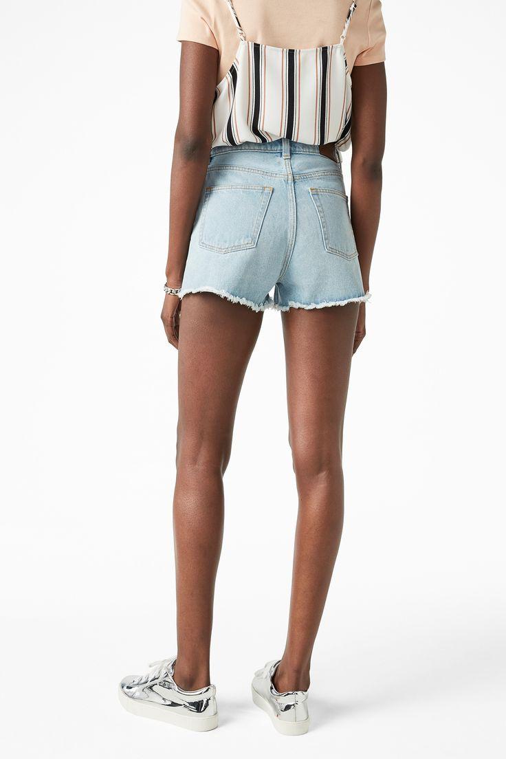Monki Image 3 of High waist denim shorts in Blue Reddish Light