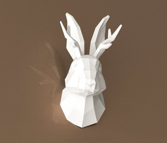 Papercraft Rabbit Head Rabbit Head Bunny Head Wall Mount Etsy Paper Crafts Bunny Head Faux Taxidermy