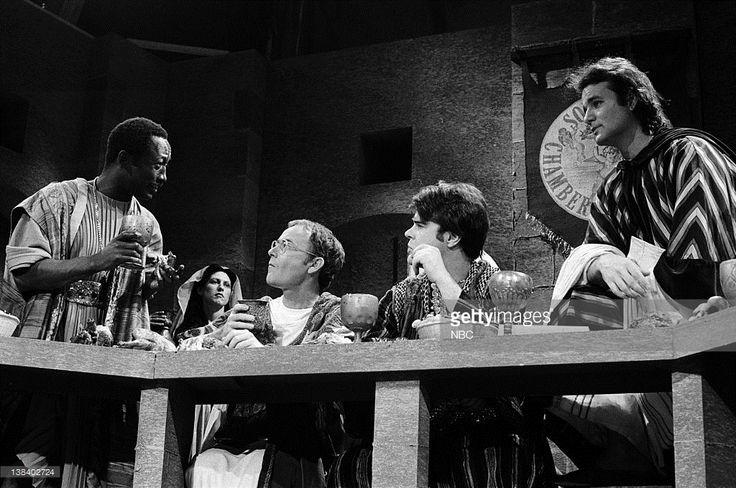 Garrett Morris as Sodomite, Buck Henry as Abanasher, Dan Aykroyd as Sodomite, Bill Murray as Noab during the 'Sodom Chamber of Commerce' skit on May 20, 1978