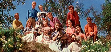 Betty Carr, Jacques d'Amboise, Norma Doggett, Virginia Gibson, Nancy Kilgas, Ruta Lee, Matt Mattox, Julie Newmar, Marc Platt, Tommy Rall, Jeff Richards, and Russ Tamblyn in Seven Brides for Seven Brothers (1954)