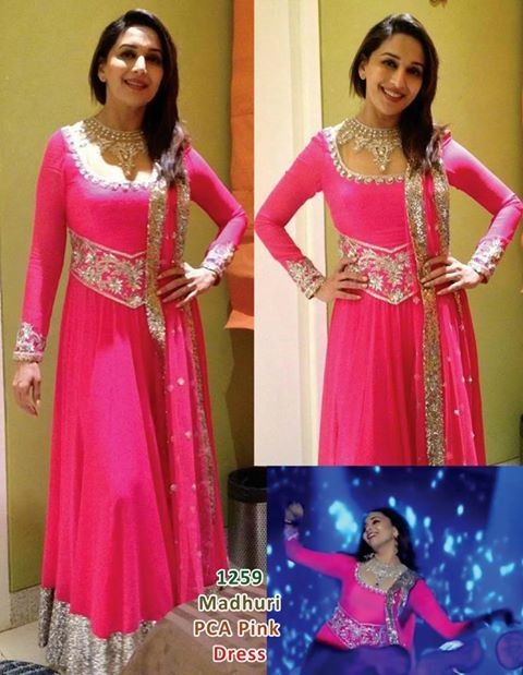 Madhuri Dixit in Pink color floor length anarkali suit. for more collection visit http://panachehautecouture.co.in/