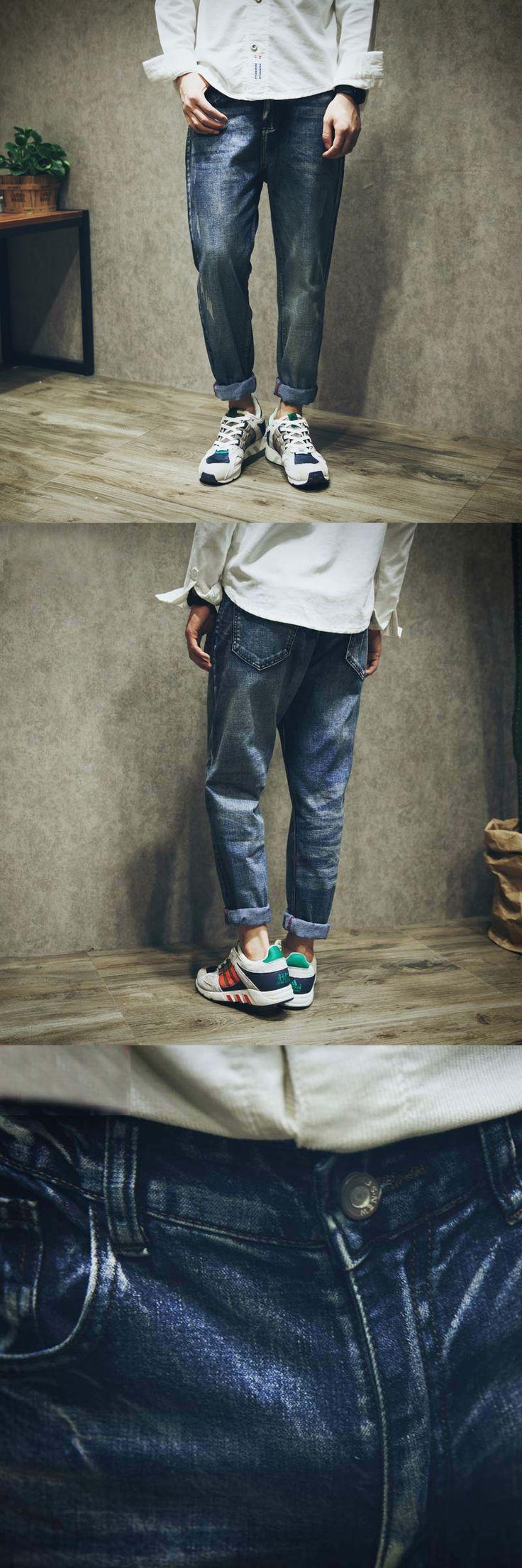 2017 Elastic Fabric Harem Jeans For Men Casual Denim Joggers Pants Cotton Loose Hip Hop Long low drop crotch Trousers 051102