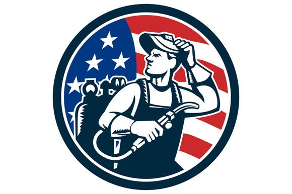 Welder Looking Side USA Flag  - Illustrations Illustration of a welder rod-holder with cable and electrode for electric arc welding and welder visor mask looking to the side with usa american stars and stripes flag in the background set inside circle done in retro style. #illustration #WelderLookingSide
