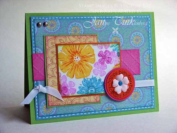 Greeting Card Floral Birthday Handmade for Teen Girl by JanTink, $5.95