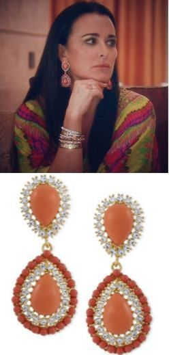 Kyle Richards' Coral Double Drop Embellished Earrings http://www.bigblondehair.com/real-housewives/kyle-richards-coral-double-drop-earrings-dubai/