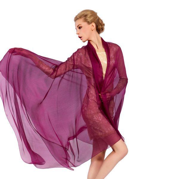 LYZA Women Solid Silk Scarf Shawl 200*140CM Oversize Design Scarves Wraps Sunshade Shawls
