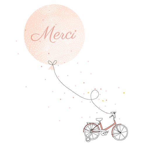 Carte de remerciement de naissance Merci à bicyclette photo by My Lovely Thing pour www.FairepartNaissance.fr