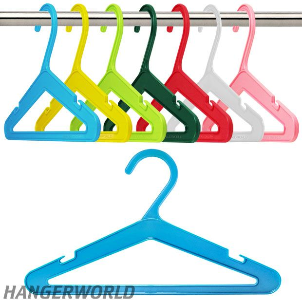 Baby & Toddler Coloured Plastic Clothes Hangers With Bar - 26cm