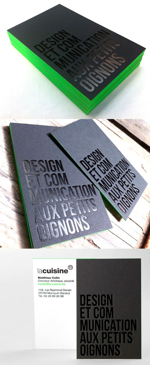 These cards cleverly use hot foil stamping to achieve a black-on-black design which is still readily legible.