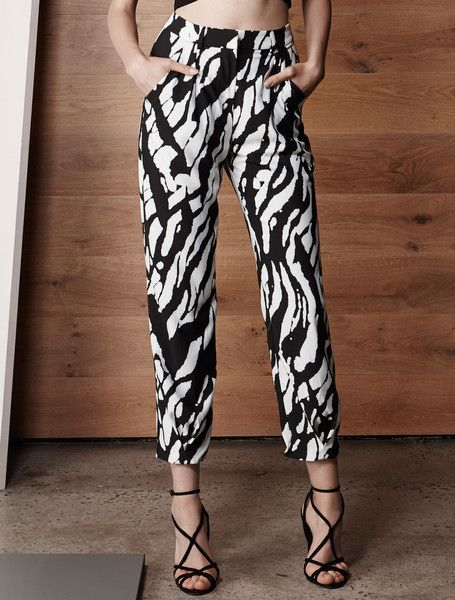ISLA SAHARA PANTS from the Vivid Collection. A key trend this season, these graphic monochrome printed pants crop perfectly at the skinniest part of your ankle for the most flattering look. Designed to sit at your narrowest point, these pants have a banded waist, inline side pockets and gently taper to the ankle with an inverted dart detail at the cuff. $149.00 available from www.islalabel.com #islalabel #fashion #style #monochrome #trend