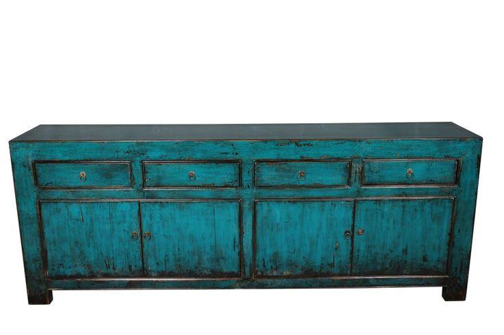Azuur blauw dressoir 220cm chinese dressoirs chinese for Interieur 60er jaren