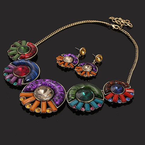 Round Candy Color Resin Beads Necklace and Earrings | Stylish Beth
