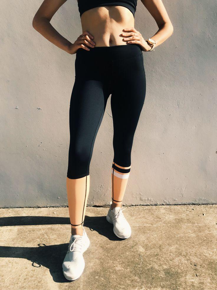 C25 Leggings in Peach. Model wears size Medium.