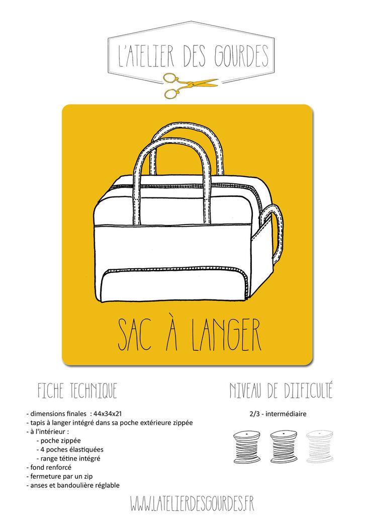 Patron pdf sac à langer avec tapis à langer intégré : Puériculture par latelierdesgourdes