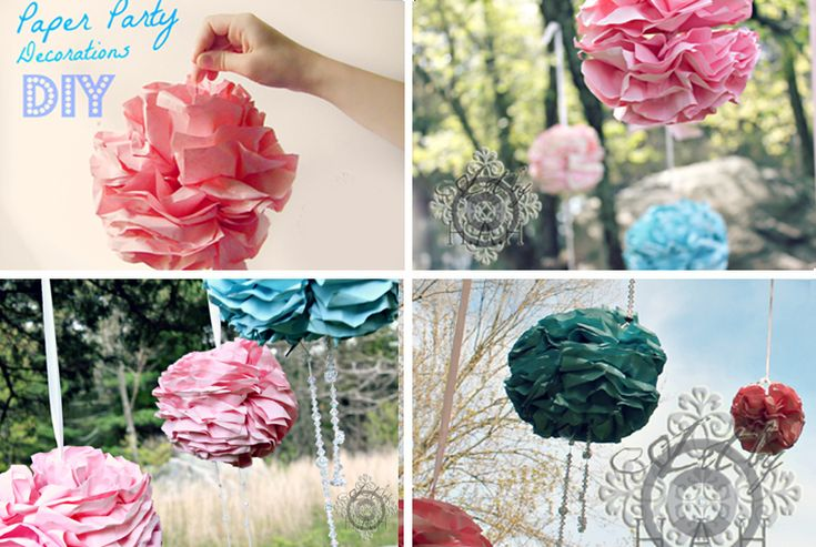 DIY Pretty Flower Pom Poms! -Use printer paper- 18 sheets fan folded and wired together and poof