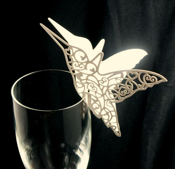50 Hummingbird Paper Place Card / Escort Card / Wine Glass Card Paper for Wedding Party or event
