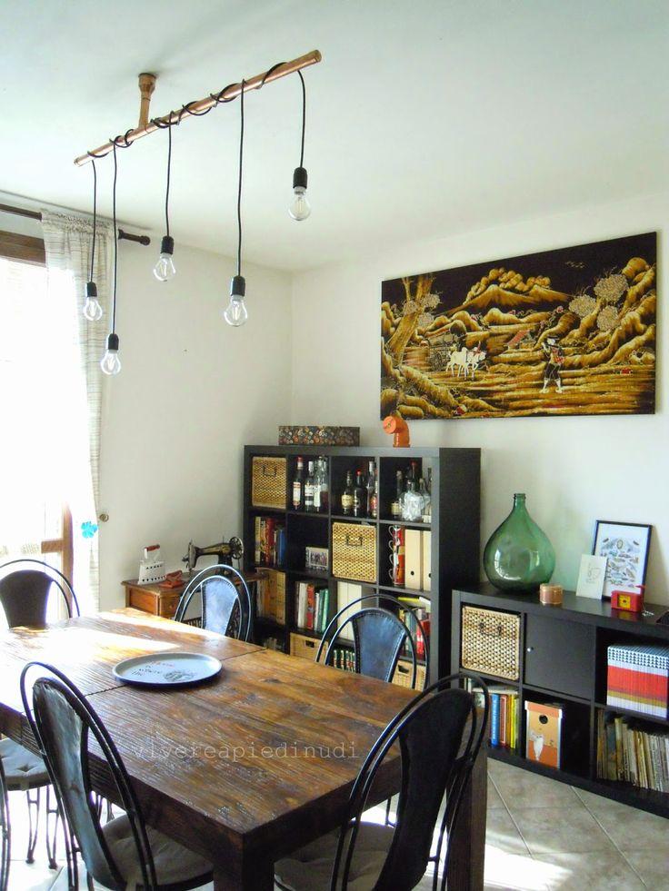 Un nuovo lampadario in rame per la sala da pranzo - industrial copper pipes chandelier