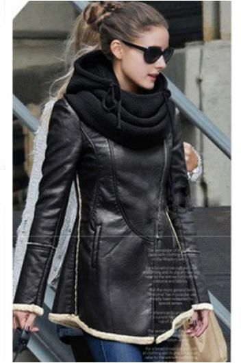 Collar of long leather coat_Coats_CLOTHING_Voguec Shop