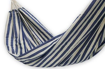 Hand Crafted Cotton Striped Fabric Hammock (Single) - Maritime Brazil | NOVICA